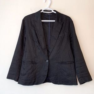 T. Babaton Black Linen Blend Blazer One Button